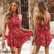 Women Summer Dress Ladies Causal Floral Boho Beach Loose Printing Holiday Tank Dresses Elegant Sundress