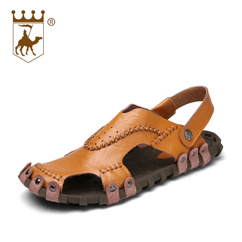 BACKCAMEL 2018 Summer Genuine Leather Sandals Men Fashion Gladiator Beach Teenslippers Heren Slip On Flip Flops Men Top Quality