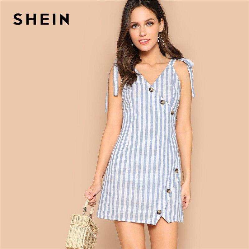 Шеин Boho синий с завязками на плечах асимметричный разрез в полоску летнее Мини платье для женщин обёрточная бумага пуговицах без рукаво