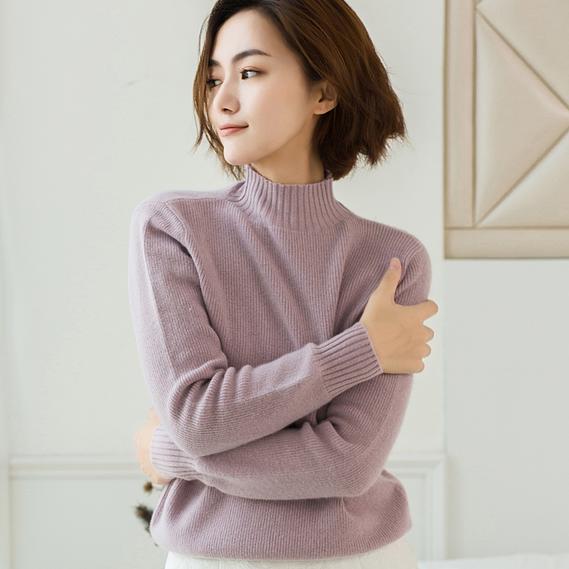 2018 new cashmere sweater women clothes half high collar long sleeved sweater female 100 pure sweater