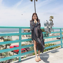 The mast size women trumpet sleeves Thailand long skirts long loose fork plus dresses in summer in Bohemia