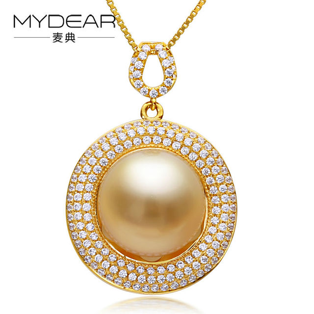 Mydear natural pearl jewelry three layers big 12 13mm southsea mydear natural pearl jewelry three layers big 12 13mm southsea pearl gold pendant pearl pendant aloadofball Image collections