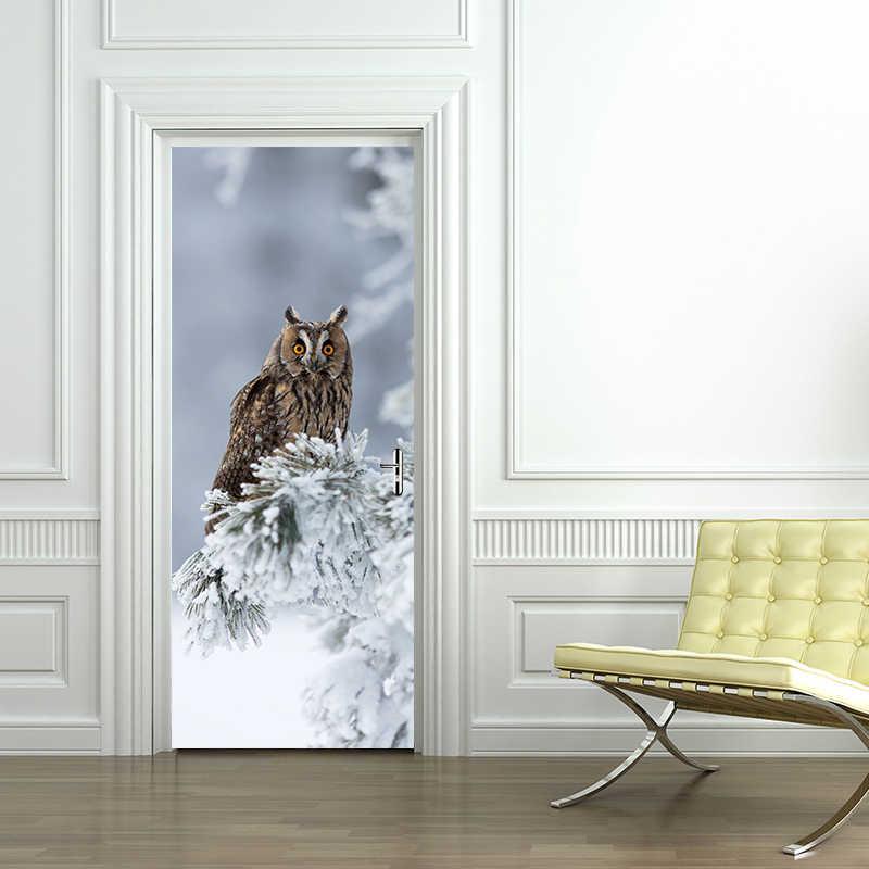 الإبداعية البوم على شجرة فرع الجدار ملصق الباب ملصقا خلفيات الفن صائق الأطفال الحضانة غرفة نوم باب المنزل الديكور