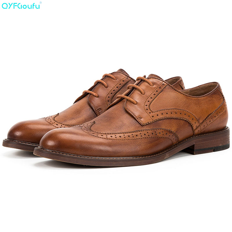 2019 New Men Formal Shoes Dress High Quality Oxford Genuine Leather Classic Vintage Brogue