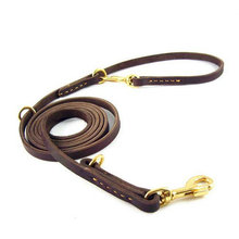 Multifunction 100% Genuine Leather Pet Dog Leash Luxury Strong Hands Free Leash Lead For Small Large Animals 230x1.1cm