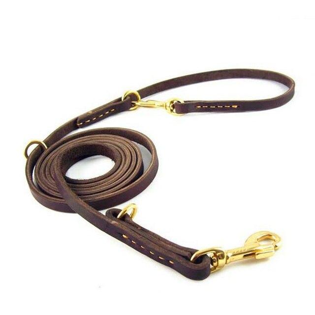 Multifunctionele 100% Echt Leer Pet Hondenlijn Luxe Sterke Handen Gratis Leash Lead Voor Kleine Grote Dieren 230x1.1cm