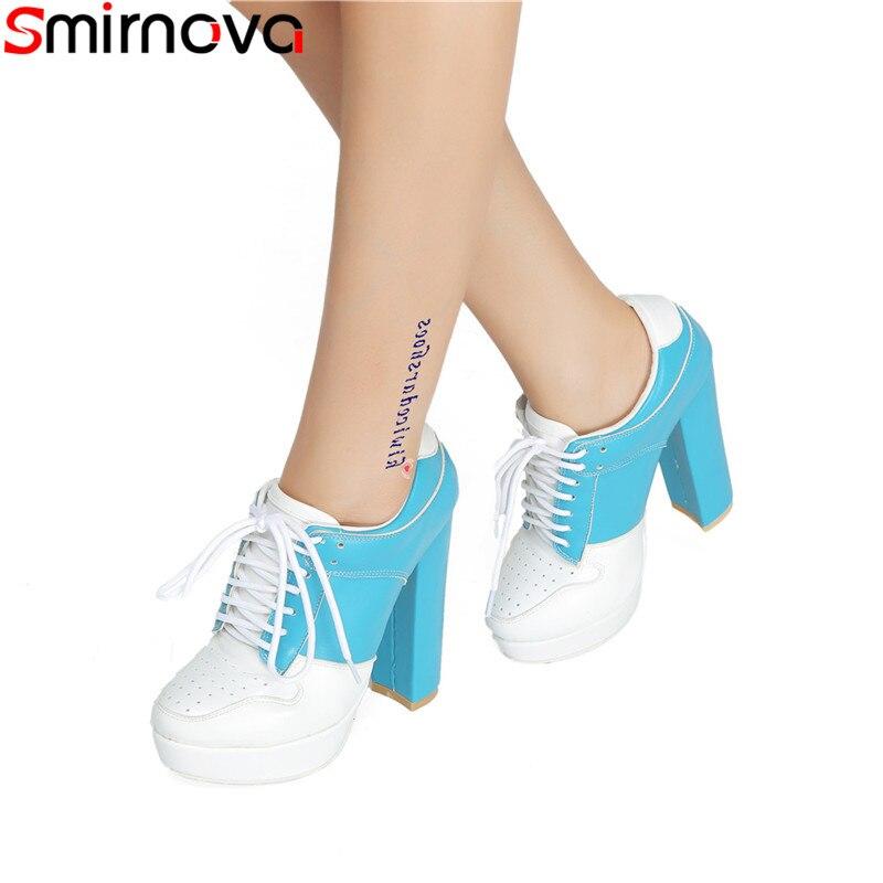 Mujer Tamaño Zapatos Tacones Las Moda Smirnova Gruesos De Otoño Blue  Primavera Punta 2019 Plataforma Bombas ... 75f9598d23e6