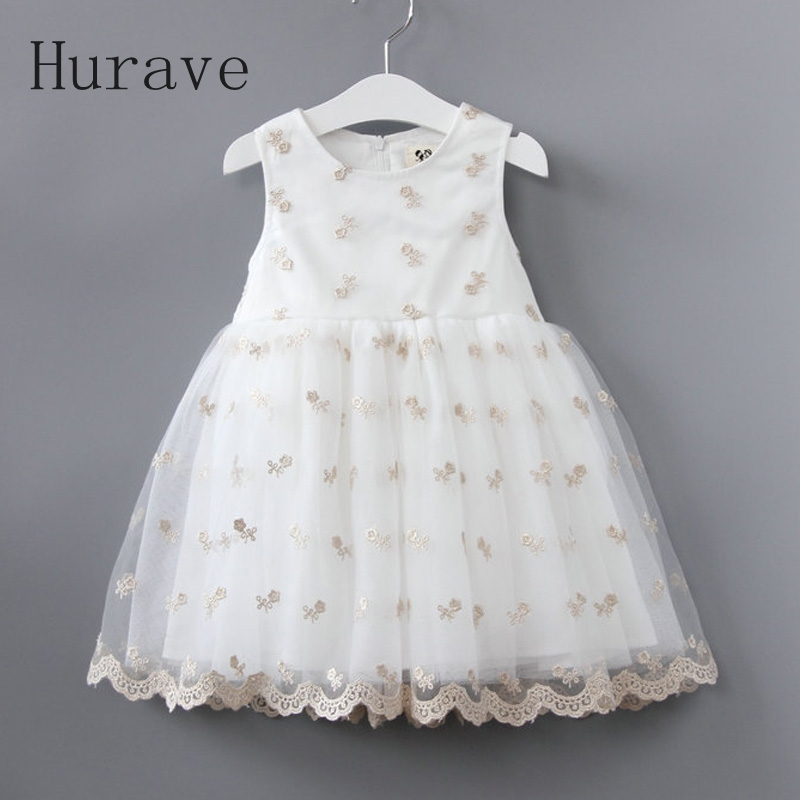 Hurave new fashion summer dress for girl kids lace clothing embroidery toddler princess floral printing vestidos