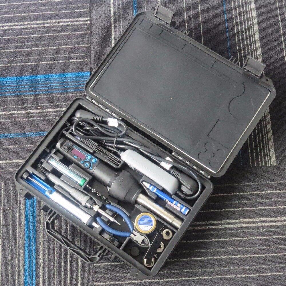 YI HUA 8858 I 8858 + 908D EU/US 650W LCD Adjustable Electronic Heat Hot Air Gun Desoldering Soldering Station BGA Welding tools