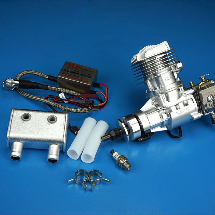 DLE20RA 20cc GAS Engine For RC Airplane Model Single Stroke two exhaust wind cold hands start after Stroke aluminium tuned exhaust pipe for zenoah crrc rcmk petrol marine engine rc gas boat