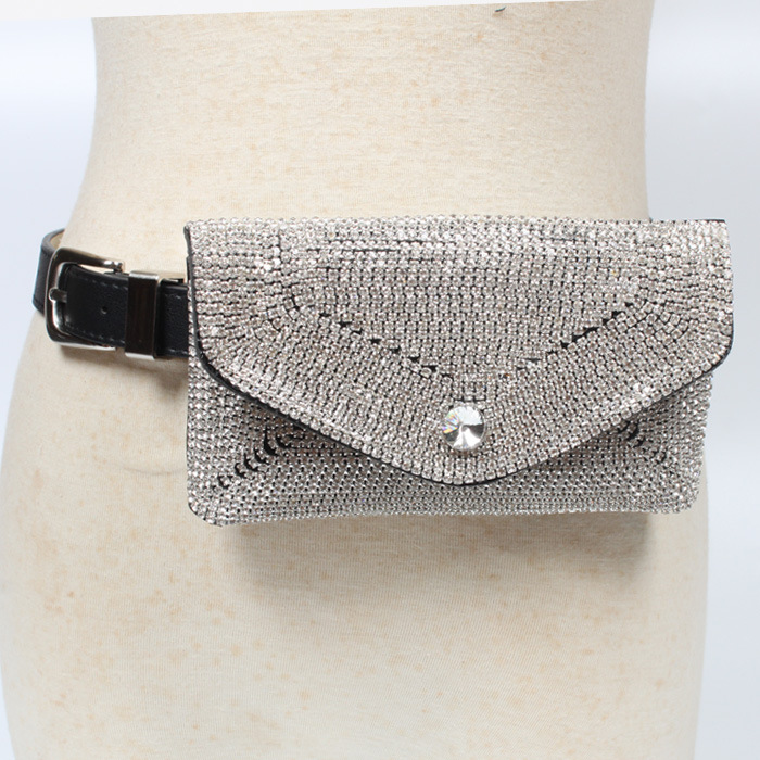 European Bling Full Rhinestone Waist Pack Women Luxury Crystal Fanny Pack Chest Bag Fashion Leather Waist Belts With Phone Bag