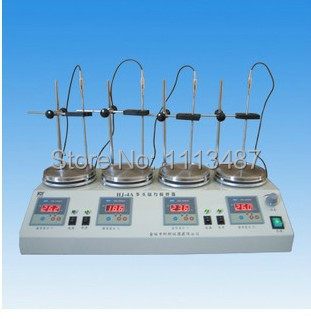 4 unit Digital display thermostatic control Lab magnetic stirrer mixer HJ-4A  RT.-100C 0-2400rpm digital shear emulsification lab mixer lr 10 mixer disperser emulsifying machine 10kg capacity 220v or 110v
