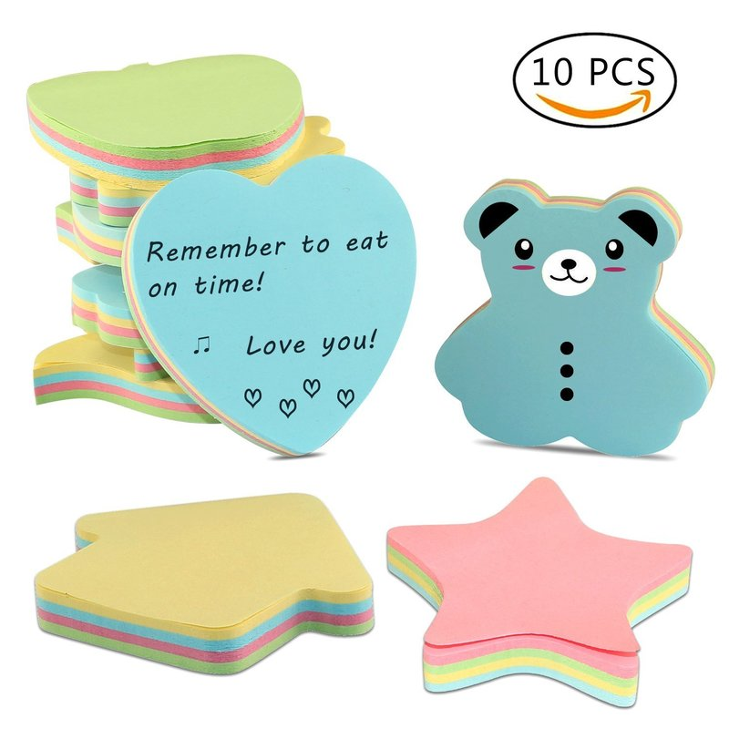 Self-Stick Sticky Notes in Different Shapes, Colorful Super Memo Notes,100 Sheets/Pad(Pack of 10) kitfel58024unv35668 value kit fellowes polyester mouse pad fel58024 and universal standard self stick notes unv35668
