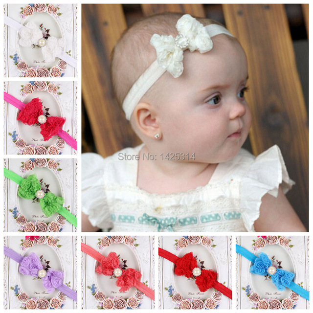 7f7bc6ebbfd3 12Pcs 3D Rose flowers with pearl diamond bow Children hair bands Newborn  Bebes Elastic Headbands Infant
