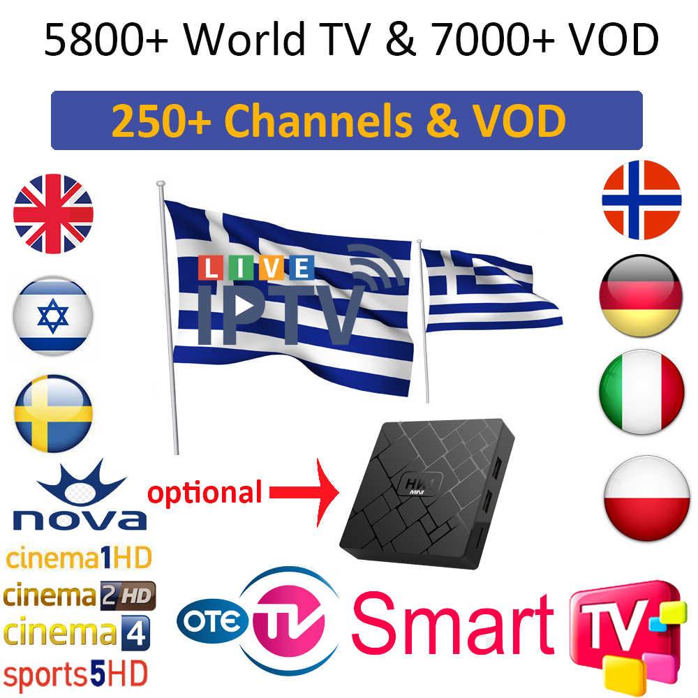 Grèce IPTV-abonnement HD grec LiveTV VOD chaînes espagne Portugal EXYU royaume-uni allemand suède français pologne M3U Smart TV Android