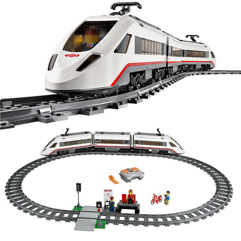 Lepin 02010 Creator Technic High-speed Passenger Train Remote-control Trucks Set RC Rail Train Model Compatible With lego 60051 lepin 02009 city engineering remote control rc train model