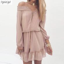 Women Autumn Sexy Party Chiffon Dress Off Should Ruffle V Neck Long Sleeve Dresses BeachTunic Mujer Clothes Loose Top 2017