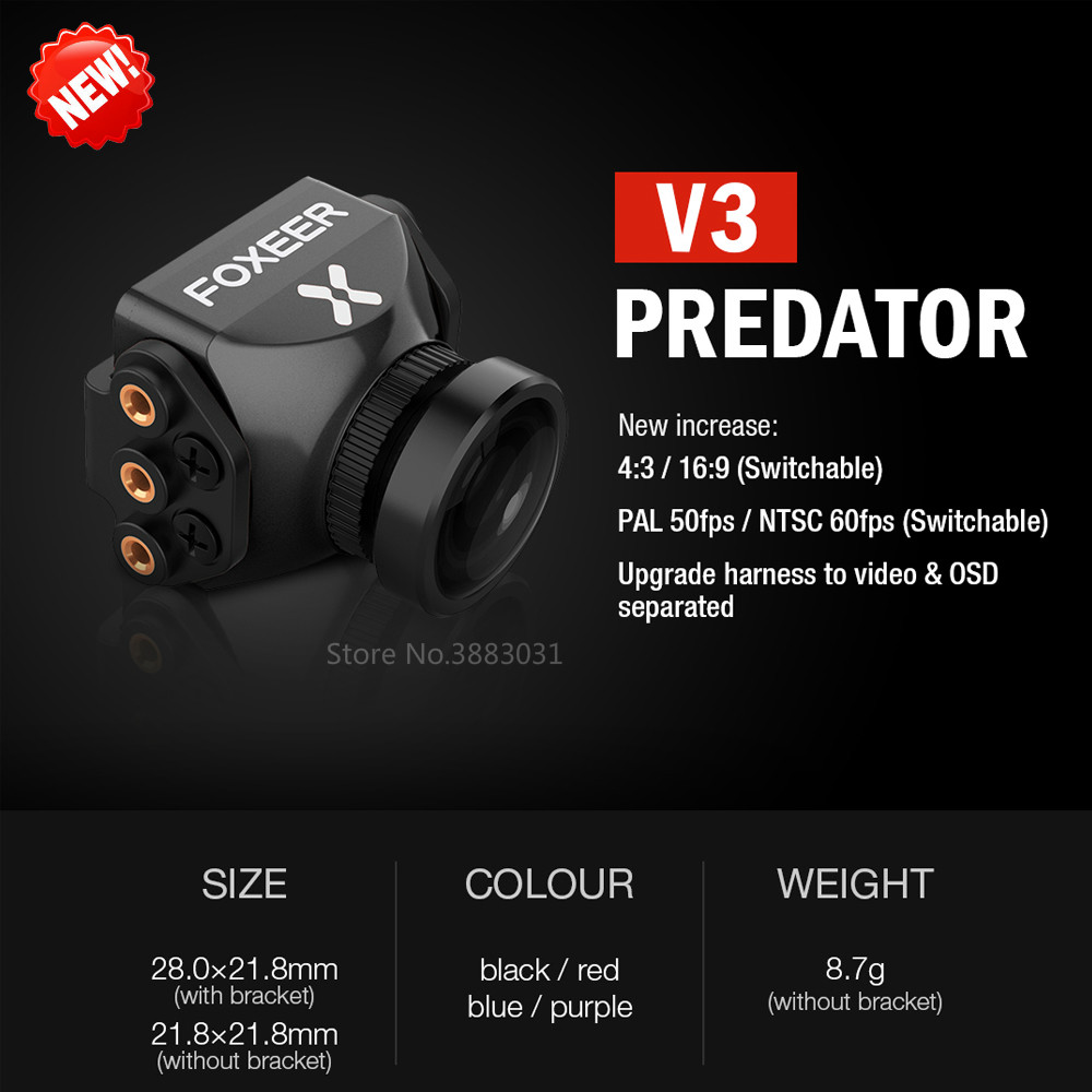 Nouveau Foxeer Prédateur V3 Caméra Racing FPV Drone Cameras16: 9/4: 3 PAL/NTSC commutable Super WDR OSD 4 ms Latence Upgarded PredatorV2
