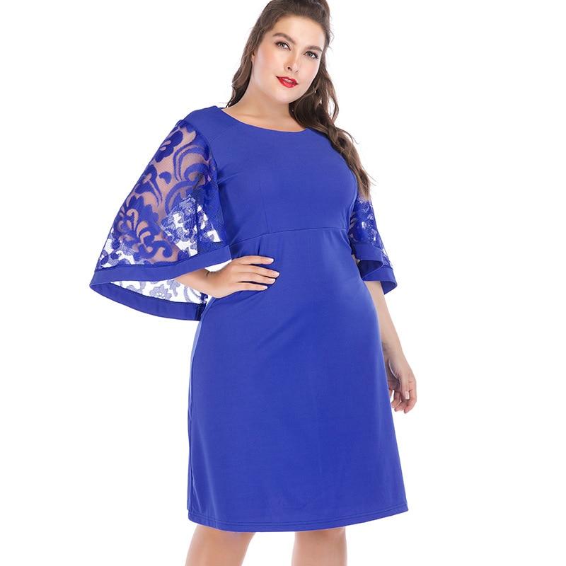 Plus Size Dress Slim XL/2XL/3XL/4XL/5XL/6XL Casual Women Girl High Waist Batwing Sleeve 2019 Autumn Winter