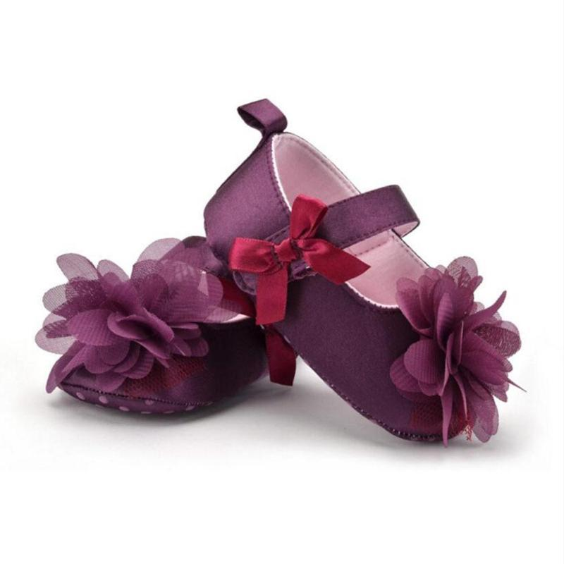 Rose Flower Infant baby shoes Toddler purple Anti-slip Shoes First Walkers Soft Sole Ant ...