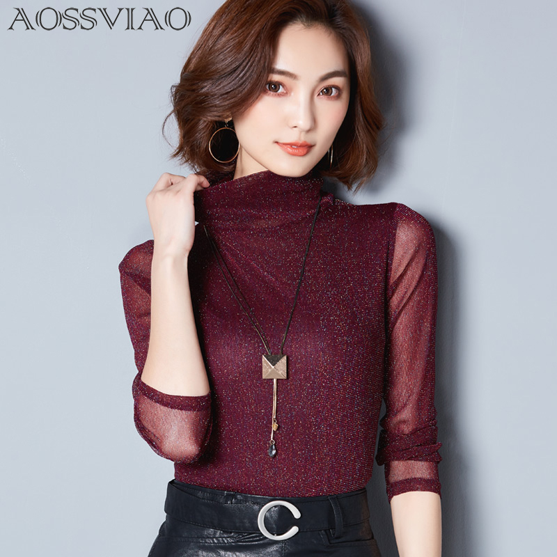 Mesh   Blouse     Shirt   Women Formal Long Sleeve Tops Female Spring 2018 Korean Elegant Slim Fitness Sheer Ladies Office   Shirts