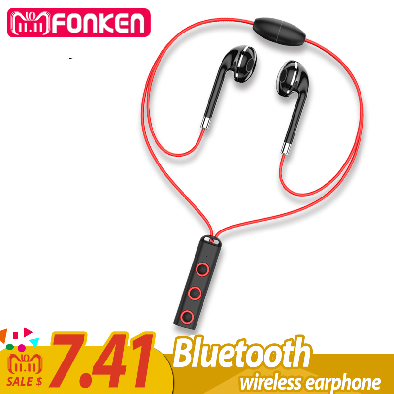 FONKEN BT313 Bluetooth Earphone in ear Wireless Earphones Magnetic Sport Ear Phones with Mic Mobile Bluetooth in-ear Earbuds honsigogo metal bluetooth earphone magnet wireless in ear earpiece sport stereo music earphones with hd mic for mobile phones