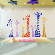 Colorful giraffe acrylic photo wall sticker creative personality 3D stickers bedroom bedside background surface decoration