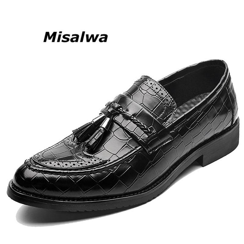 Misalwa Mens Tassel Shoes Crocodile Leather Casual Shoes Men Brand Italian Formal Footwear Slip-On Moccasins Dress Loafers Flats mycolen mens loafers genuine leather italian luxury crocodile style slip on casual dress shoes for male sapatos masculinos
