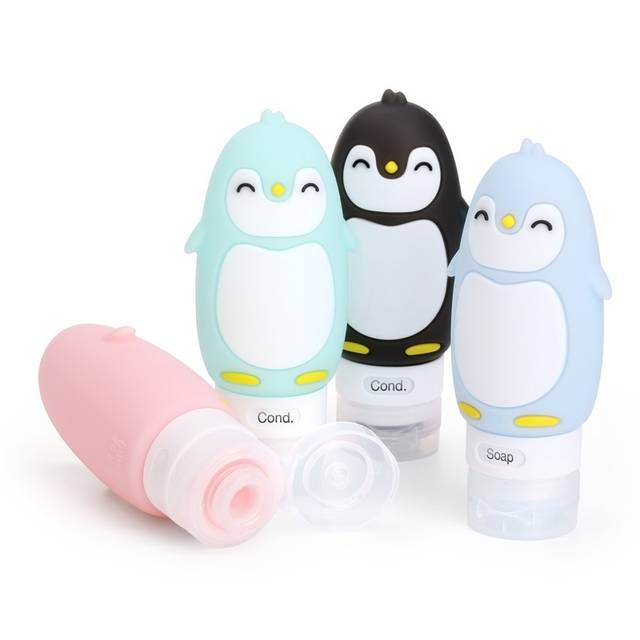 9fb39a9bbb4a Penguin Silicone Travel Bottles Set LeakProof Travel Tubes Set Refillable  Cosmetic Toiletry Containers with Protable Clear 90ml