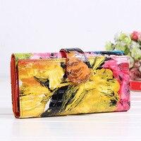 High Quality Women S Genuine Leather Handbag Purse Women S Wallet Flower Graphic Patterns Wallet Cowhide
