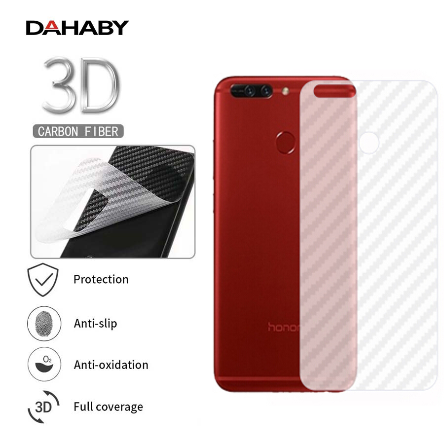 DAHABY 5pcs Carbon Fiber Clear Back Screen Protector Film For Huawei Honor 10 V10 7A/X/C 9 Lite Y6 Y7 Y9 Prime Pro 2018 P Smart