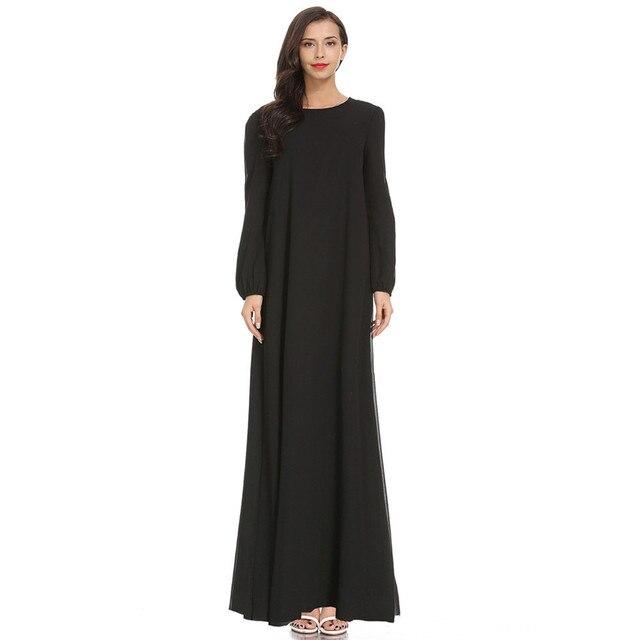 Women Fashion Elegant Muslim Plius Size Dresses Casual Solid O-Neck Ful Sleeve Chiffon Arab Islam Jilbab Dress z0415