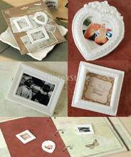 3pcs White Resin Picture Frames Scrapbooking Heart & Rectangle Frames DIY(China)