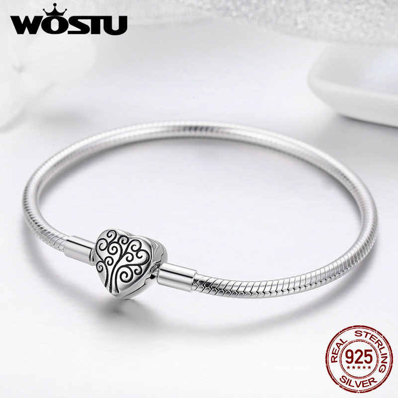 56d197150cc1 WOSTU genuino 925 plata esterlina encanto del árbol de la vida pulsera y brazalete  para mujer