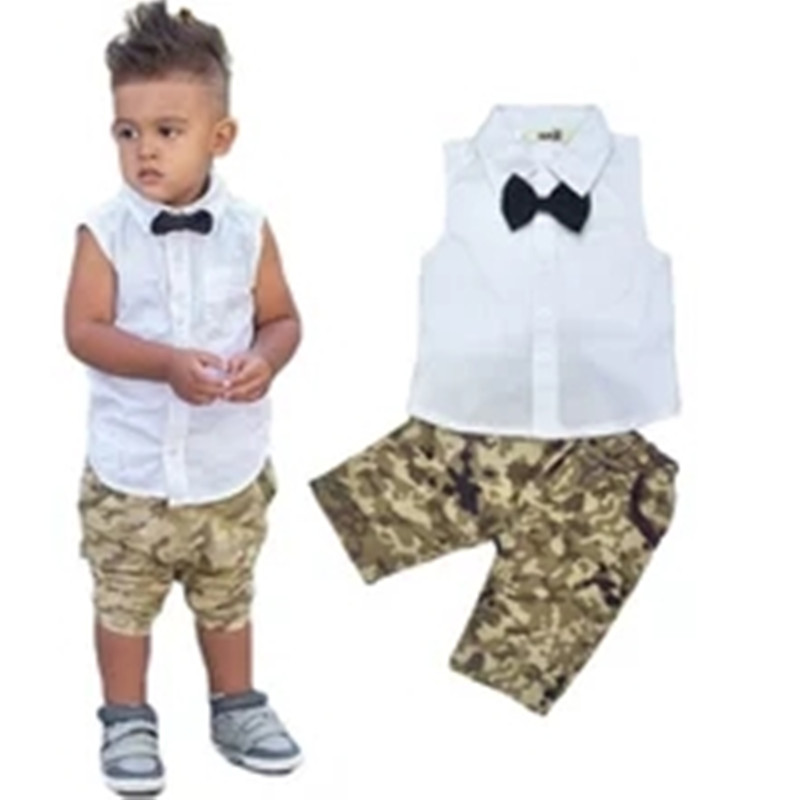 Hot Summer 2016 shirt boys t-shirt + pants fashion no bow sleeve camouflage pants suit Kids Free shipping ...