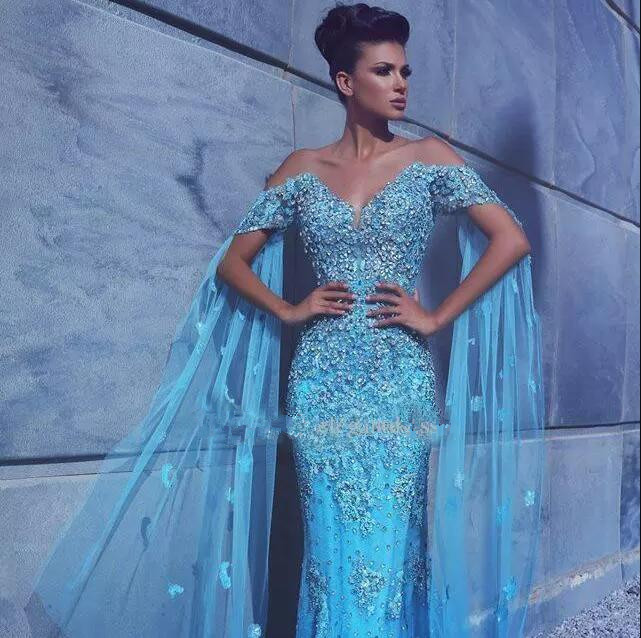 2018 Luxury Blue Mermaid Off Shoulder Appliques Crystal beading robe de soiree Evening party gown mother of the bride dresses in Mother of the Bride Dresses from Weddings Events
