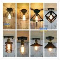 Retro iluminação interior luzes LED 8 tipos de gaiola de ferro Do Vintage luz de teto abajur estilo armazém luminária