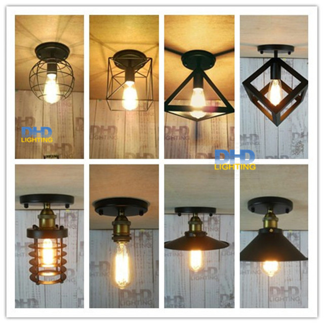 Retro Indoor Lighting Vintage Led Lights 8 Kinds Iron Cage Lampshade Ceiling Light Warehouse Style