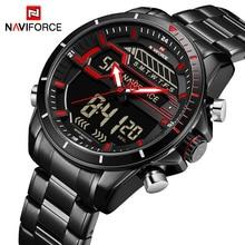 Топ Элитный бренд NAVIFORCE для мужчин спортивные часы для мужчин кварцевые цифровые светодиодные часы Полный сталь армии Военная Униформа водо