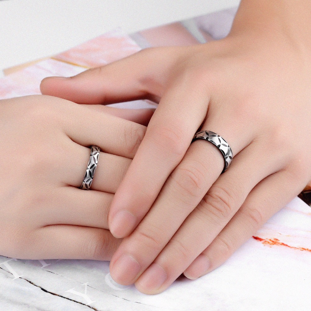 1 Piece Price Unique Leaves Couple Rings For Lovers Dull Polished ...
