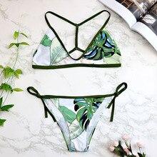 Bandage Push Up Strap Print Thong Brazilian Bikini