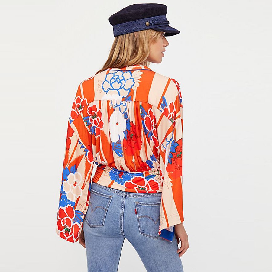 Del Teelynn Arco Larga Imprimir Blusas cuello Top Sexy Primavera Bohemia Boho Azul Kimono 2018 Hippie Punto Manga rojo Floral Mujeres Blusa V De Corto 4rO7a4wx