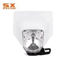 цена на 2018 NEW Motorcycle White Universal Headlight Headlamp Frontlight For KTM HUSQVARNA CRF EXC XC SX YZ YZF KX KLX RM RMZ Dirt Bike