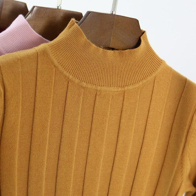 Новый 2017 Вязаный Свитер Женская Мода Осень Высокого Стретч Полосатый Пуловер С Длинным Рукавом Свитера Женщины Потяните Femme L865