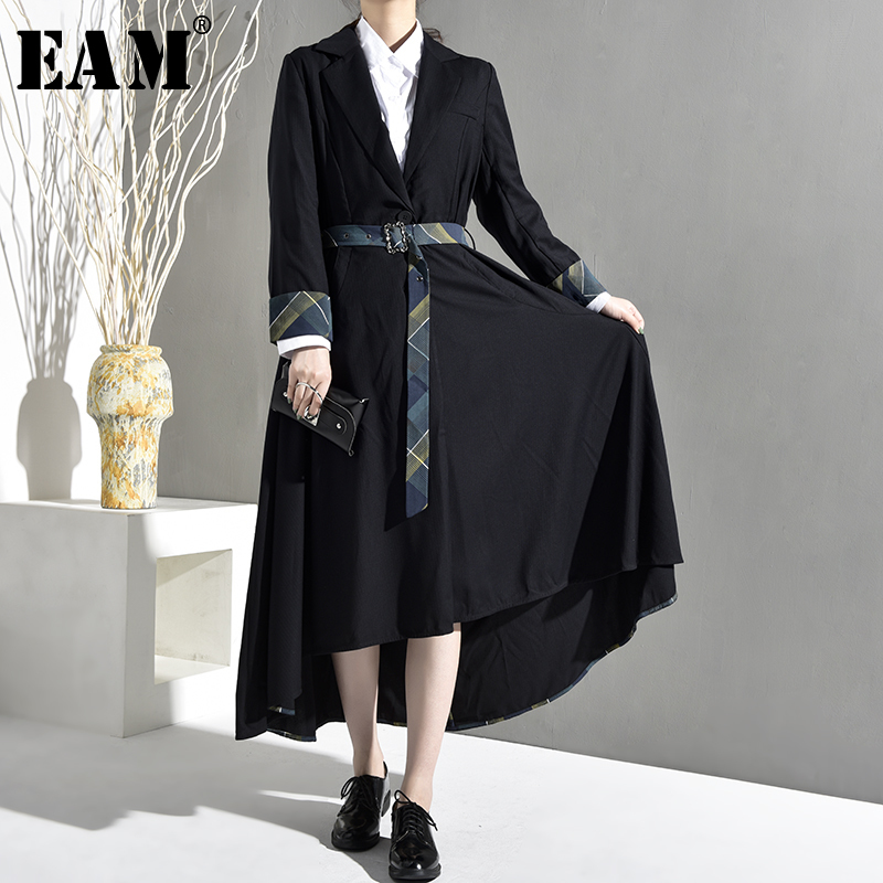 [EAM] 2019 New Spring Autumn Lapel Long Sleeve Cuff Striped Pattern Loose Irregular Windbreaker Women   Trench   Fashion JO5520