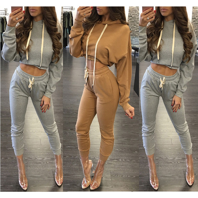 Long Sleeve Crop Top Hoodie Mesh Patchwork Long Pants Body Suits