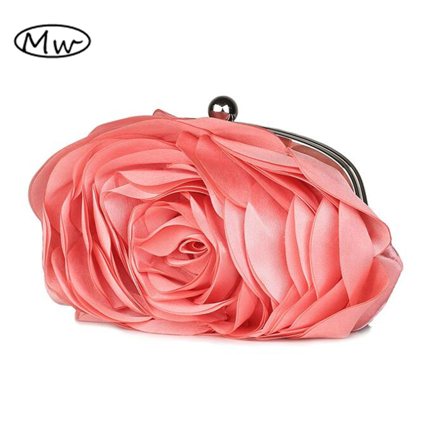 2018 New Hot Sale Women Evening Bag 100% New Banquet 3D Big Flower Purse,Messenger Bags Bolsas Fashion Elegent Silk Satin Clutch 11cls bolsas fashion 100
