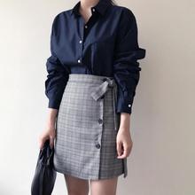 Women's skirt 2019 summer new single-breasted tie striped cotton skirt high waist wild A word skirt