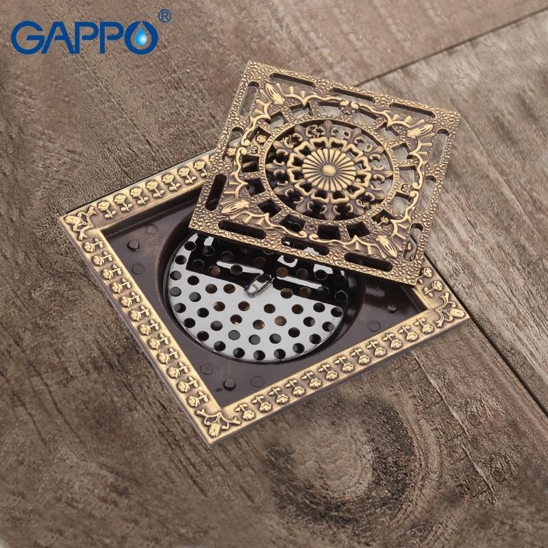 GAPPO Insert Square Floor Waste Grates Bathroom Tile Shower Floor Drains Antique Fltro Ducha Drain Shower Hair Strainer 40z