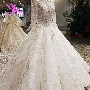 Image 4 - AIJINGYU pakistanlı gelinlik modelleri dikmek kristal boncuklar uygun elbise mağazaları gelinlik dantel